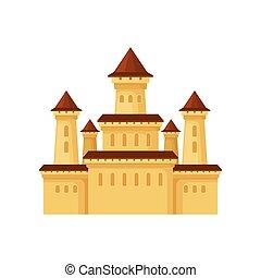 plat, centre, icône, divertissement, palace., jaune, roofs., vecteur, affiche, château, élément, conique, enfants, moyen-âge