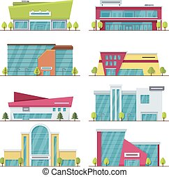 plat, centrum, shoppen , moderne, gebouwen, supermarkt, mall, vector