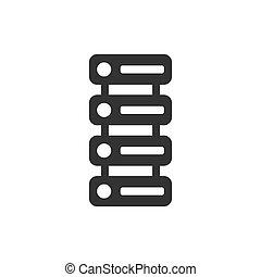 plat, centrum, zakelijk, style., concept., vrijstaand, illustratie, kelner, achtergrond., vector, veiligheid, data, witte , pictogram