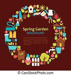 plat, cercle, collection, de, printemps, jardin, objets