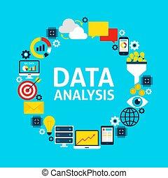 plat, cercle, données, analyse