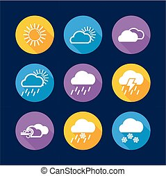plat, cercle, temps, conception, icônes