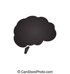 plat, cerveau, isolé, illustration, arrière-plan., vecteur, blanc, design., icône