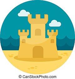 plat, château sable, icône