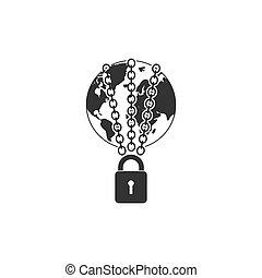 plat, chaîne, globe, la terre, fort, icône