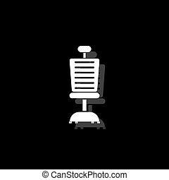 plat, chaise, bureau, icône