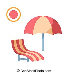 plat, chaise, plage, illustration