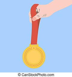 plat, champion, or, illustration, main., médaille, icône