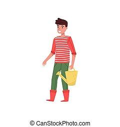 plat, chandail, type, boots., main., arrosage, jeune, jaune, caoutchouc, vecteur, conception, boîte, rayé, sourire, jardinier, pantalon