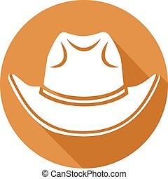 plat, chapeau cowboy, icône