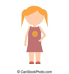 plat, character., vecteur, conception, enfant, girl, standing.
