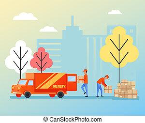 plat, chargement, paquet, logistique, ouvriers, isolé, stevedores, livraison, boîtes, vecteur, illustration, caractères, warehouse., entrepôt, concept., dessin animé, déchargement
