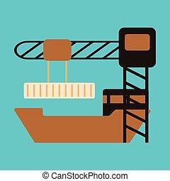 plat, chargement, récipient, conception, bateau, icône