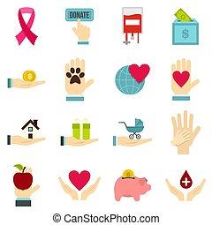 plat, charité, ensemble, icônes