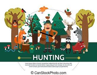 plat, chasse, gabarit