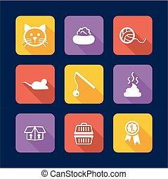 plat, chat, conception, icônes