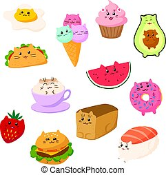 plat, chat, illustration., vecteur, caractère, chats, style, blanc, rigolote, collection, kawaii, dessin animé, nourriture, mignon, isolé, desserts