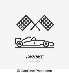 plat, checkered, contour, voitures, automobile, signe, vecteur, drapeaux, voiture, logo, ligne, sport, courses, icon., expédier compétition
