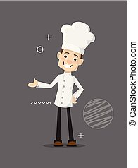 plat, chef cuistot, illustration, gai, vecteur, conception, dessin animé