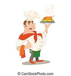 plat, chef, cuit, poulet