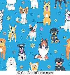 plat, chiens, conception, seamless, modèle