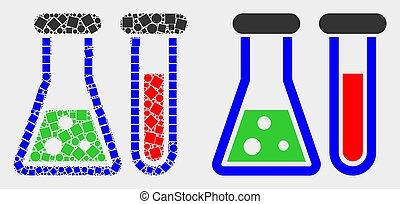 plat, chimique, vecteur, pixelated, verrerie, icône