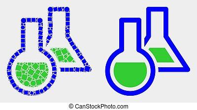 plat, chimique, vecteur, verrerie, point, icône