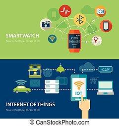 plat, choses, internet, montre, conception, concepts, intelligent