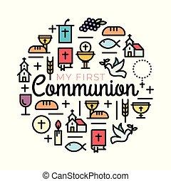 plat, chrétien, contour, invitation, communauté, symboles, communion, icons., gentil, église, premier, design.