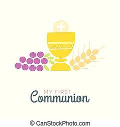 plat, chrétien, gentil, invitation, communauté, symboles, communion, illustration, église, premier, design.