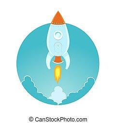 plat, ciel, fusée, espace, voler, illustration, conception, coloré