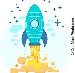 plat, ciel, fusée, espace, voler, illustration, vecteur, conception, coloré