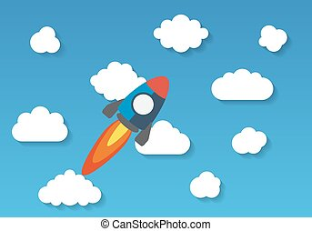 plat, ciel, fusée, espace, voler, vecteur, conception, illustrat, coloré