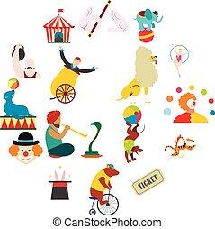 plat, cirque, ensemble, icônes