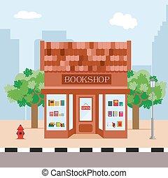 plat, city., eps10., arbres, librairie, vecteur, illustration, fond, style.