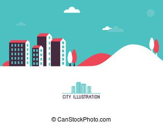 plat, clair, vecteur, illustration, maisons