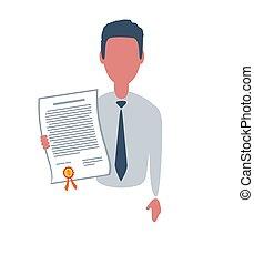 plat, clerk., ou, style, isolé, branché, caractère, homme affaires, business, concept., simple, mâle, blanc, arrière-plan., illustration., objets