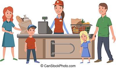 plat, clients, illustration., nourriture famille, registre, caissier, isolé, espèces, arrière-plan., commodité, vecteur, store., supermarket., blanc, achat