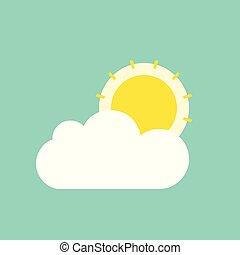 plat, clioud, soleil, derrière, vecteur, nuage, icône
