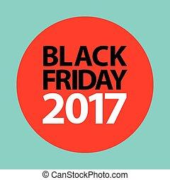plat, coût, vendredi, étiquette, noir, 2017, autocollant, rouges
