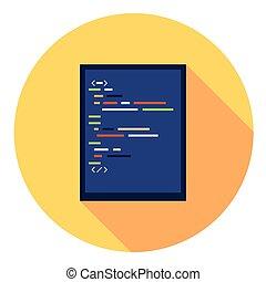 plat, code, redacteur, pictogram