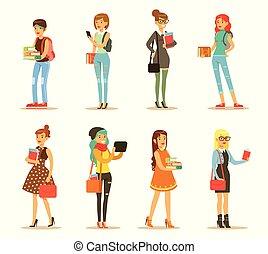 plat, collège, ensemble, bags., university., étudiants, ou, filles, jeune, désinvolte, femme, vecteur, livres, caractères, élégant, dessin animé, vêtements