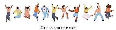 plat, collection, africaine, bonheur, happiness., motivation, heureux, liberté, acclamation, mouvement, danse, sauter, femmes, illustration., vecteur, joie, américain, gens, concept, hommes