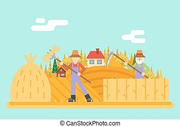 plat, collines, foin, illustration, automne, champ, paysan, vecteur, conception, fond, village, harvestman, récolte, paysage, icône