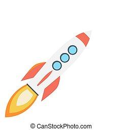 plat, coloré, bateau fusée, design., icône