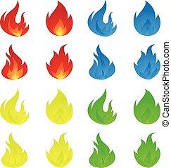 plat, coloré, icône, flammes, style, simple
