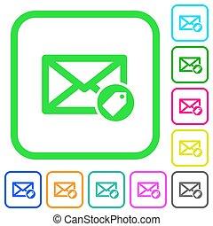 plat, coloré, icônes, courrier, étiquetage, vif
