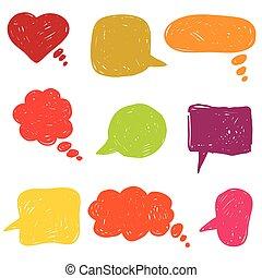 plat, coloré, icônes, main, bubbles., parole, dessiné
