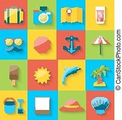 plat, coloré, icônes, simple, pictogramme, long, été, mer, voyage, ombre, vacances, loisir