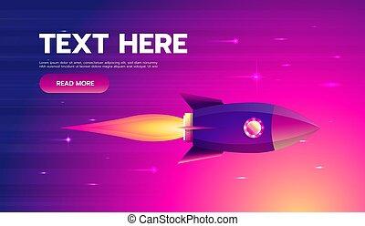 plat, coloré, illustration., fusée, espace, voler, vecteur, conception, ciel